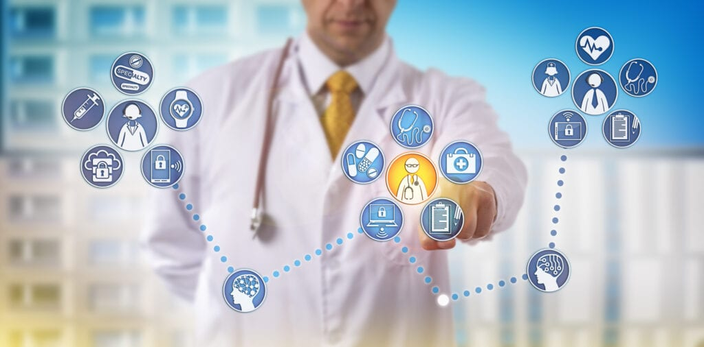 A doctor's clinical and practice management tools linked together with healthcare interoperability.