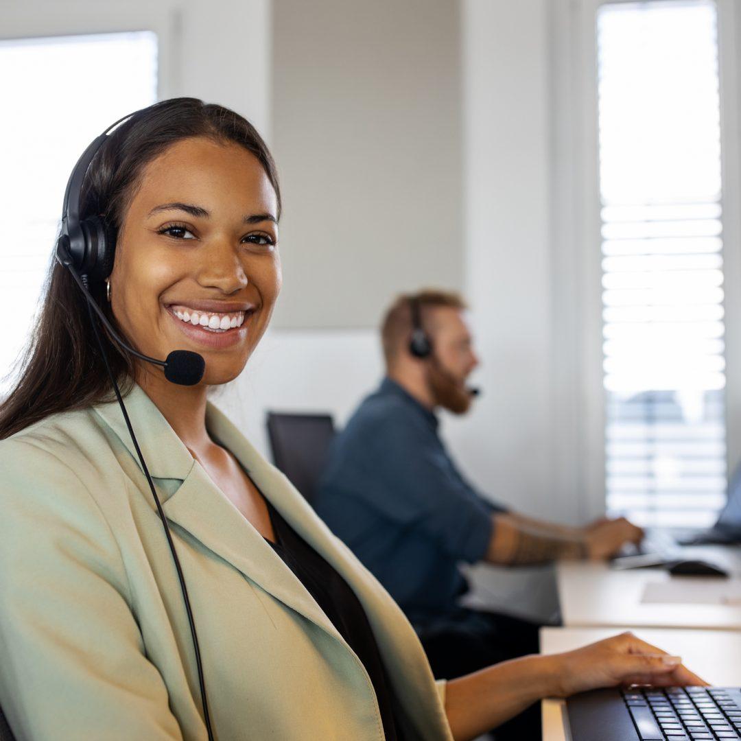 Confident female customer service representative